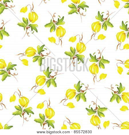Yellow Flowers Watercolor Seamless Vector Print