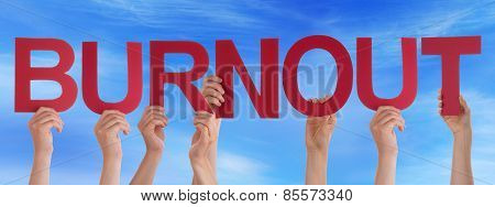Many People Hands Holding Red Straight Word Burnout Blue Sky