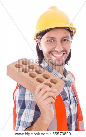 Young bricklayer with brick isolated on white