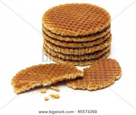 dutch stroopwafel, caramel waffle on white background