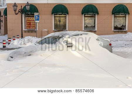 Odessa, Ukraine - December 29, 2014: Natural Disasters, Snow Storm With Heavy Snow Paralyzed The Cit