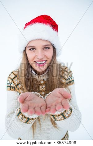 Happy hipster showing her hands on white background