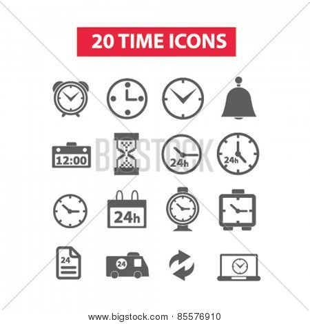 20 time icons set, vector