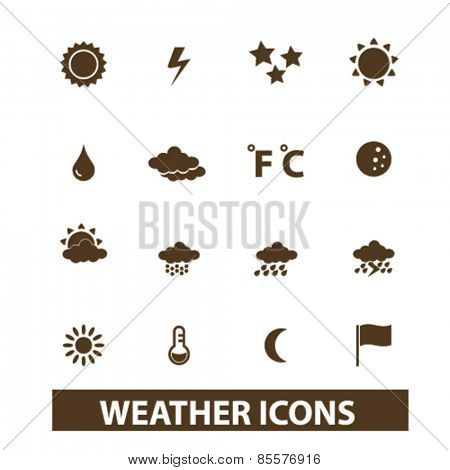 weather, climate isolated icons, signs, illustrations collection concept design set for web and application on background, vector