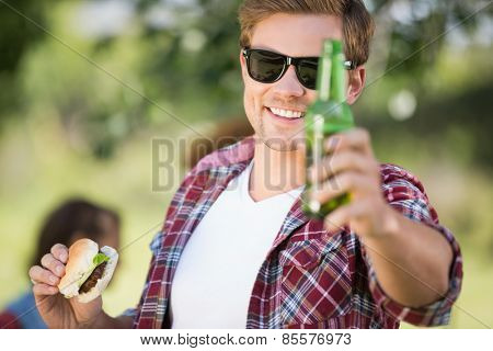 Hipster have lunch and beers on a sunny day