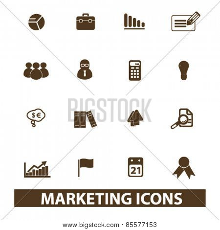 marketing, management isolated icons, signs, illustrations collection concept design set for web and application on background, vector