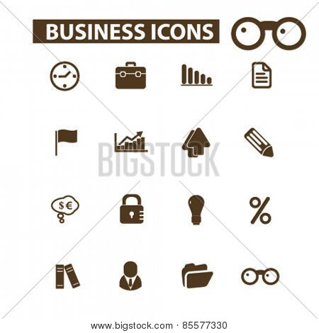 business, management, office isolated icons, signs, illustrations collection concept design set for web and application on background, vector