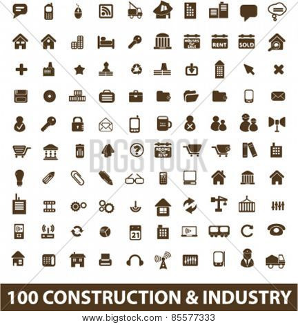 100 construction, industry, factory, development isolated icons, signs, illustrations collection concept design set for web and application on background, vector