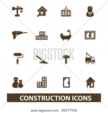 construction isolated icons, signs, illustrations collection concept design set for web and application on background, vector