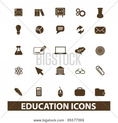 education, science isolated icons, signs, illustrations collection concept design set for web and application on background, vector