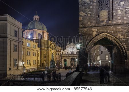 Eastern Tower Of Charles Bridge, Crusaders' Square In Prague
