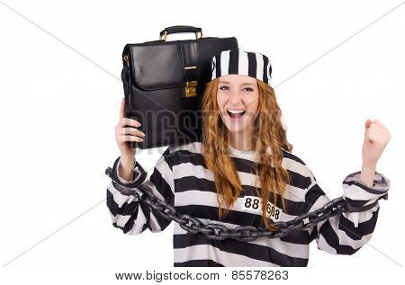 Girl in prisoner robe isolated on white