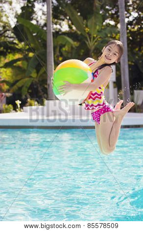 Cute Girl playing and jumping in the swimming pool