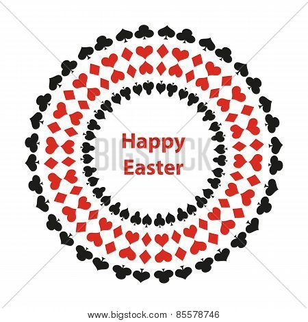 Happy Easter Background With Poker Design