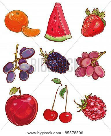 Vector Set With Fruits And Berries: Red, Purple And Orange
