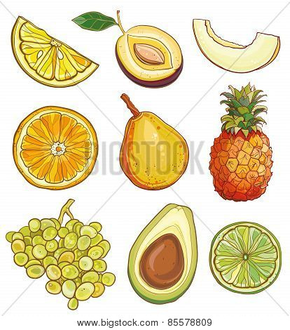 Vector Set With Fruits And Berries: Yellow, Green And Orange