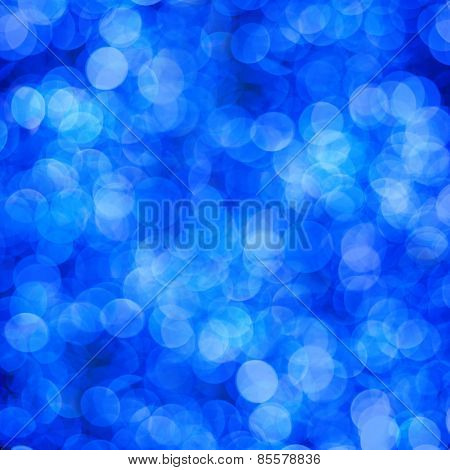 Blue Abstract Background Of Blurred Lights With Bokeh Effect