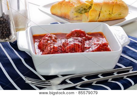 Freshly Cooked Home Made Meatballs With Bolognese Sauce.