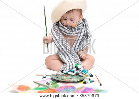 Little Baby Sitting With Paints