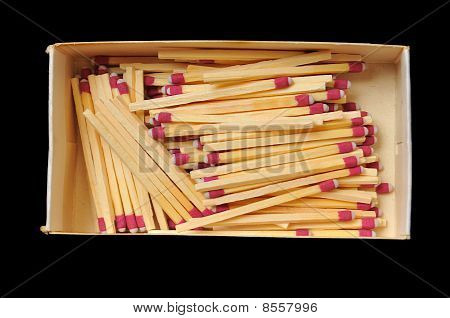 Matches In A Box Isolated On Black