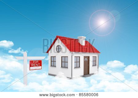 White house with red roof and chimney in cloud. Near there is signboard for rent. Background sun shi