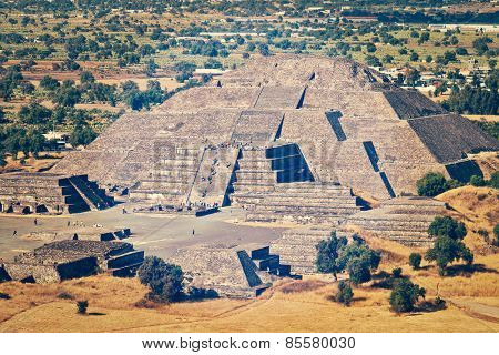Vintage retro effect filtered hipster style image of pyramid of the Moon. View from the Pyramid of the Sun. Teotihuacan, Mexico