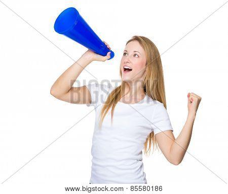 Woman screaming on a megaphone