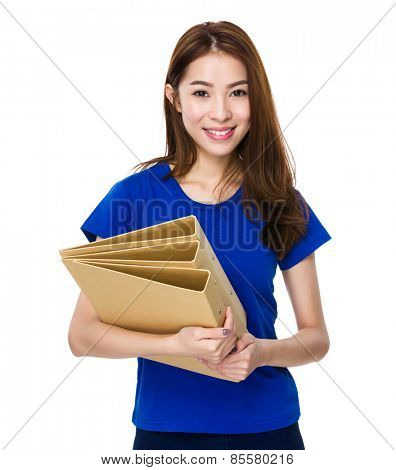Young student hold with her homework