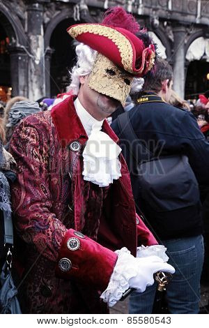 Masked Person In Costume On Carnival In Venice