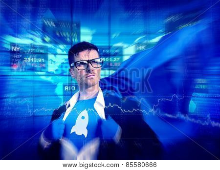 Rocket Strong Superhero Success Professional Empowerment Stock Concept