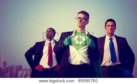 Superhero Businessmen Environment New York Concept