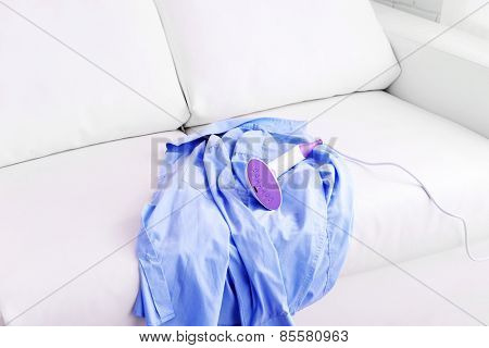 Steamer for clothes and shirt in room