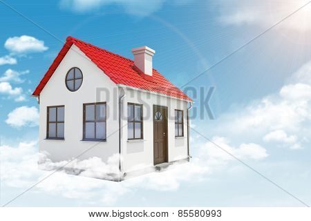 White house with red roof and chimney in cloud. Background sun shines brightly