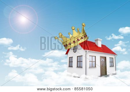 White house with red roof, crown and chimney in cloud. Background sun shines brightly,