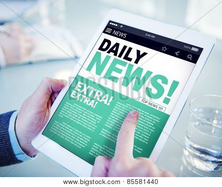 Businessman Holding Tablet Daily News Concept