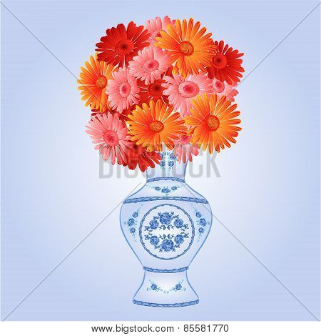 Gerbera In Faience Vase Festive Background Vector