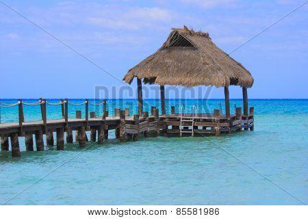 Beautiful ocean dock at a tropical island destination