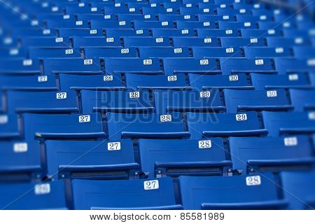 Blue stadium seats (selective focus)