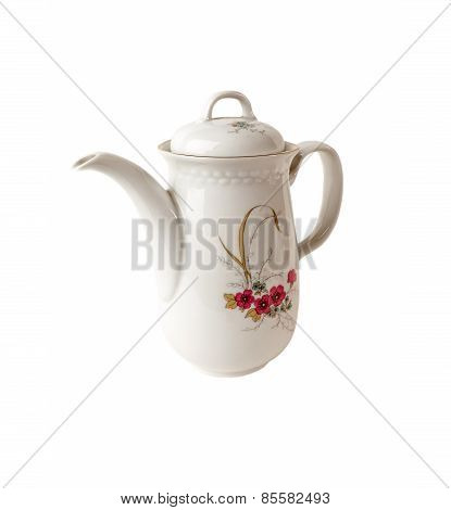 Porcelain Coffee pot with floral patterns isolated over white