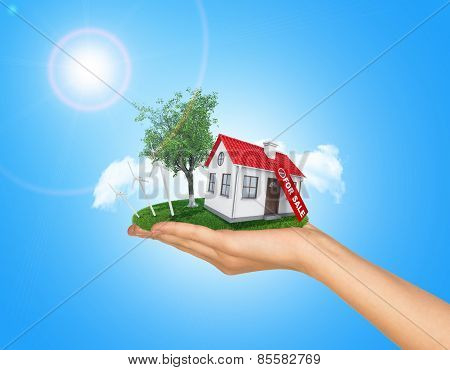 White house in hand for sale with red roof and chimney. Background sun shines brightly on left