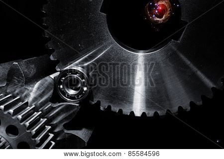 space technology, cogwheels, gears and planets
