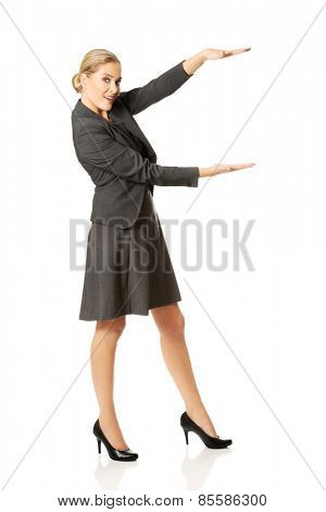 Business woman presenting a copyspace.