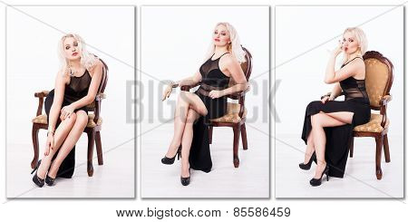 woman sitting on the vintage chair