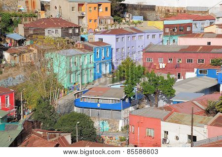Aerial View Of The Streets Of Valparaiso.
