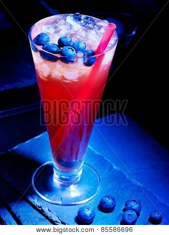 Cold red blueberry drink  with berry . Cocktail card 14