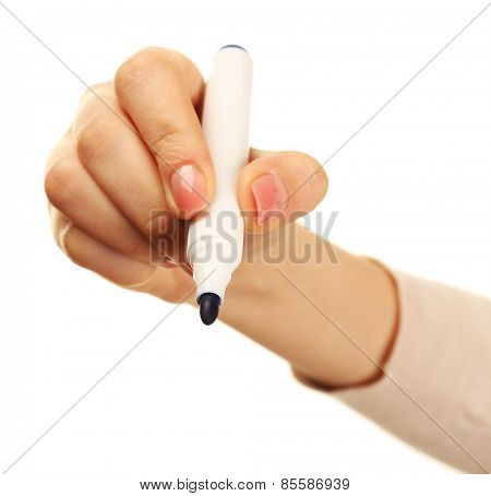 Female hand with marker isolated on white