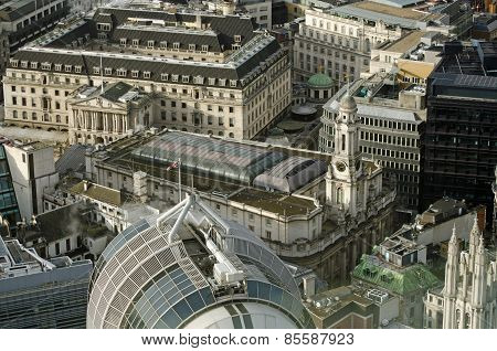 Royal Exchange aerial view, London