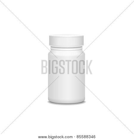 Blank medicine bottle isolated on white.