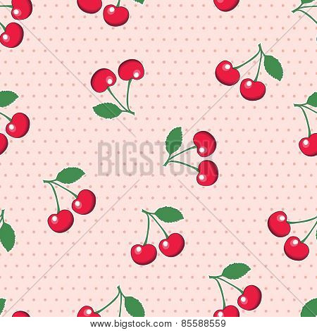 Sweet, red cherries, on retro style pink polka dot background. Seamless design.