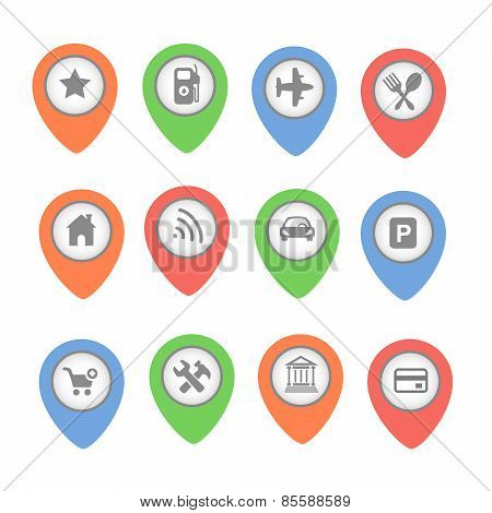 Set of  map pointers with icons isolated on white background
